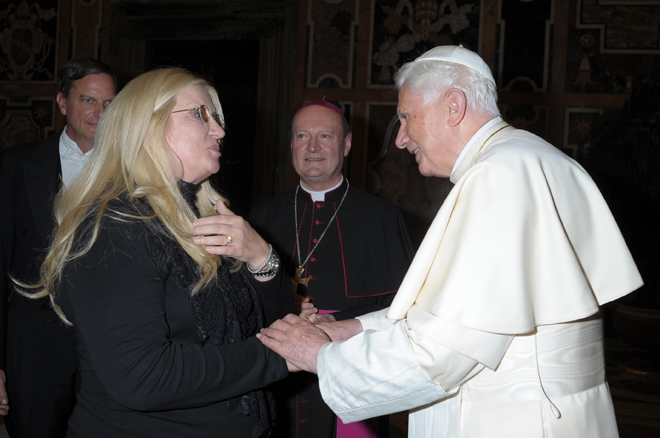 Benedict XVI with Liana Marabini at the Apostolic Palace